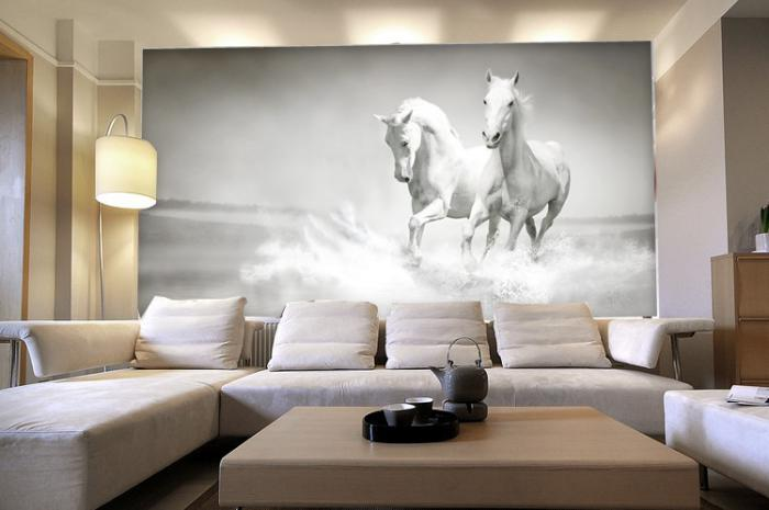 papier-peint-blanc-3d-chevaux-blancs-salon-contemporain