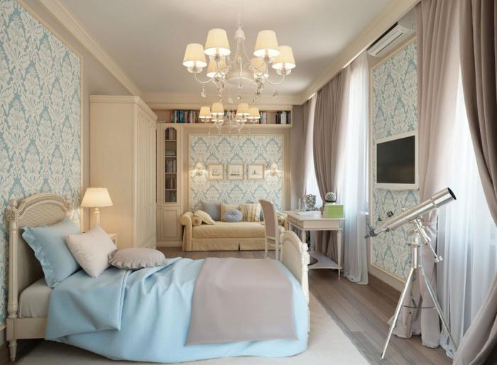 papier-peint-blanc-chambre-à-coucher-en-blanc-et-bleu