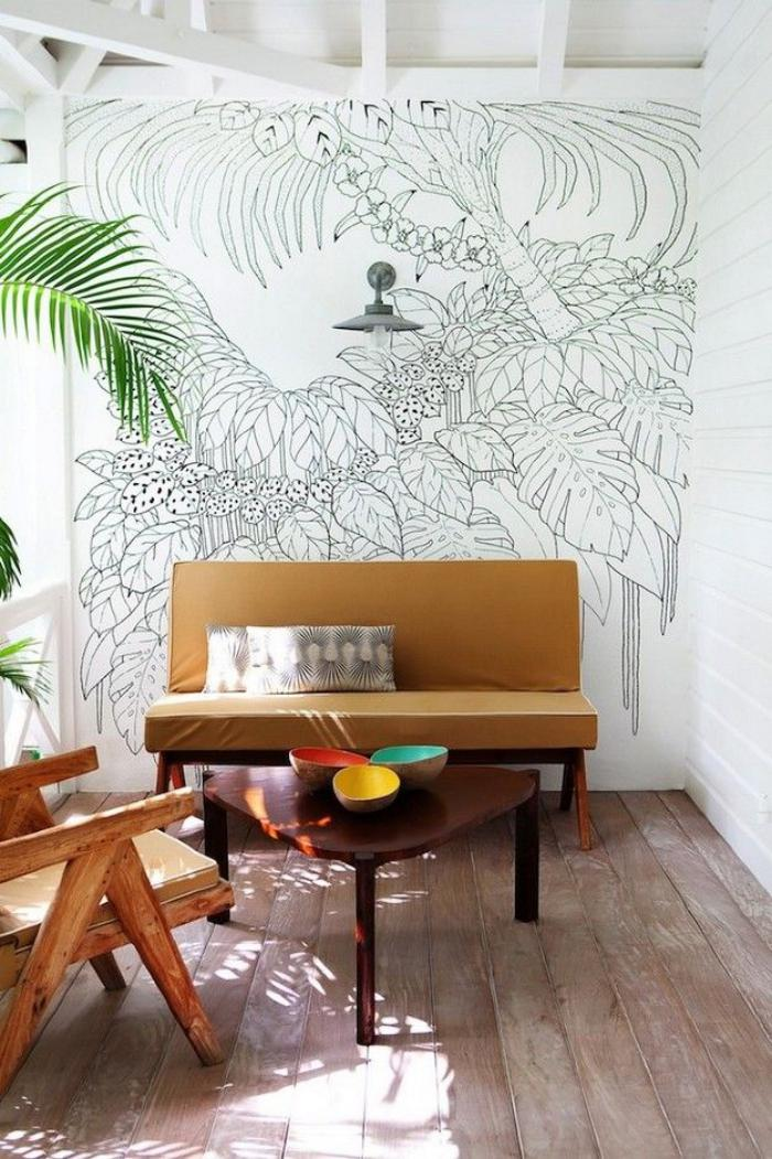 papier-peint-blanc-décor-mid-century-vintage-à-touche-rustique