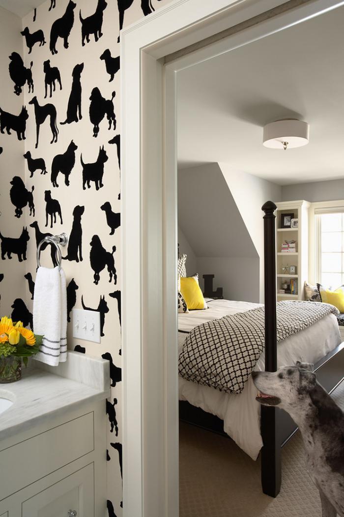 papier-peint-blanc-décoration-murale-originale-avec-des-papiers-peints