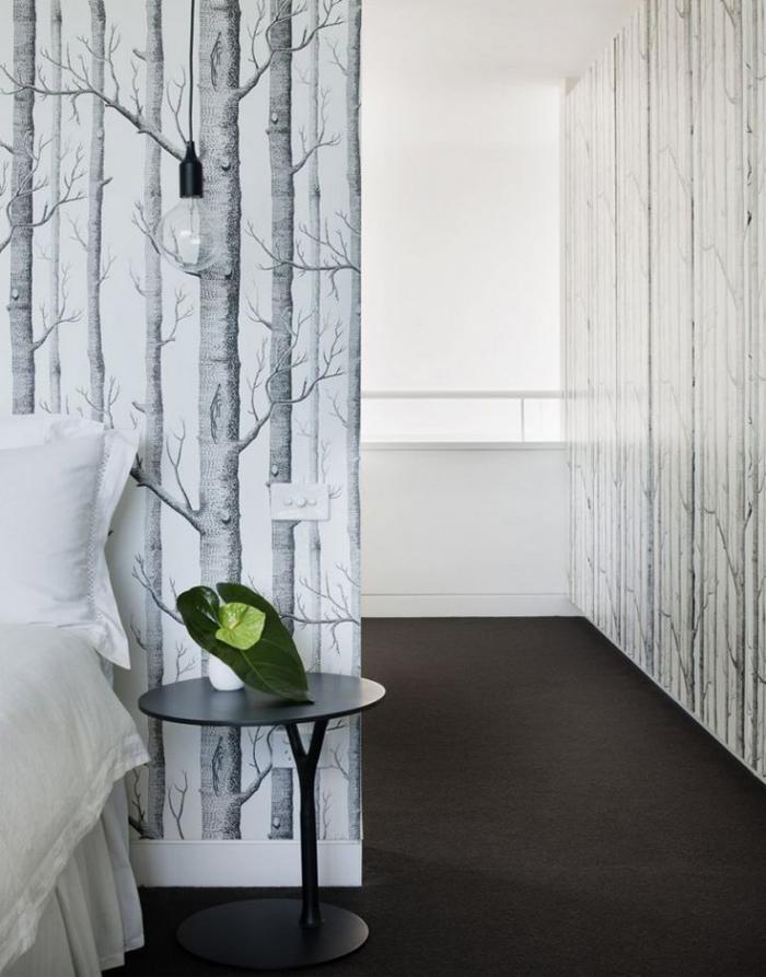 papier-peint-blanc-forêt-pour-les-chambres-et-les-entrées