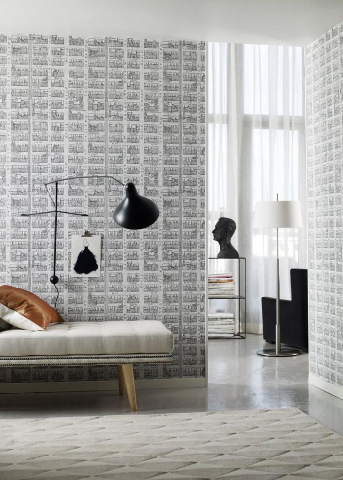 papier-peint-blanc-lampe-noire-murale
