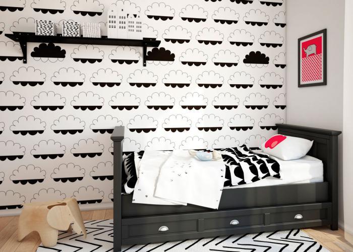 papier-peint-blanc-nuages-noirs-chambre-d'enfant-charmante