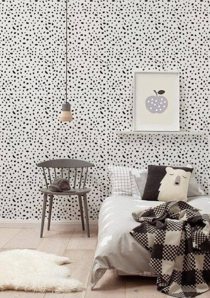 papier-peint-blanc-pointillé-chambre-à-coucher-style-scandinave