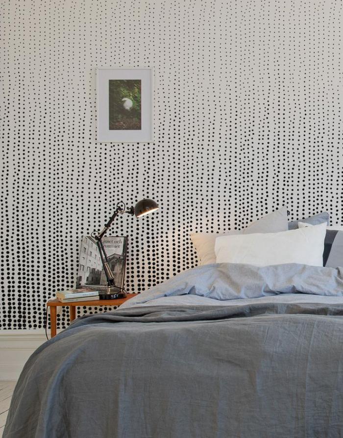 papier-peint-blanc-pointillé-décor-simple-chambre-adulte