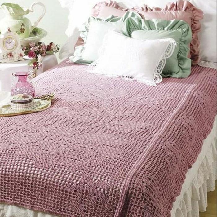 parure-de-lit-160x200-parure-de-lit-romantique-tricotée-à-la-main-de-couleur-rose