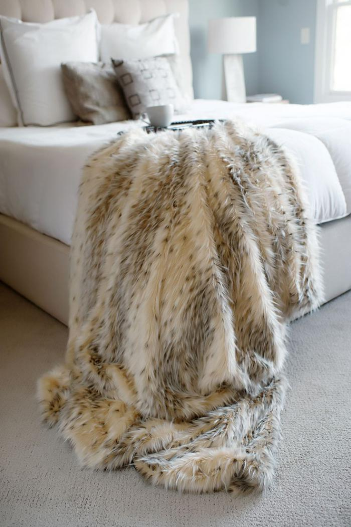 plaid-fausse-fourrure-style-léopard-plaid-imitation-fourrure