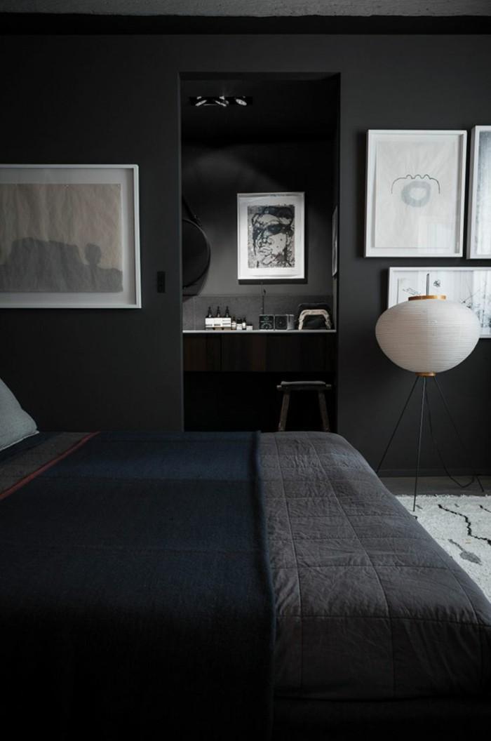 quelle-couleur-de-peinture-choisir-plan-de-travail-gris-anthrcite-couverture-de-lit-gris