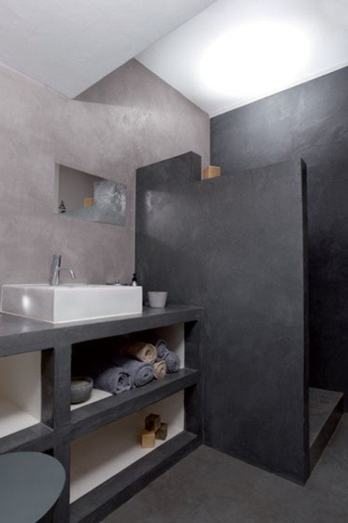 meuble salle de bain beton cir top salle de bain en bton cire gris with meuble salle de bain. Black Bedroom Furniture Sets. Home Design Ideas