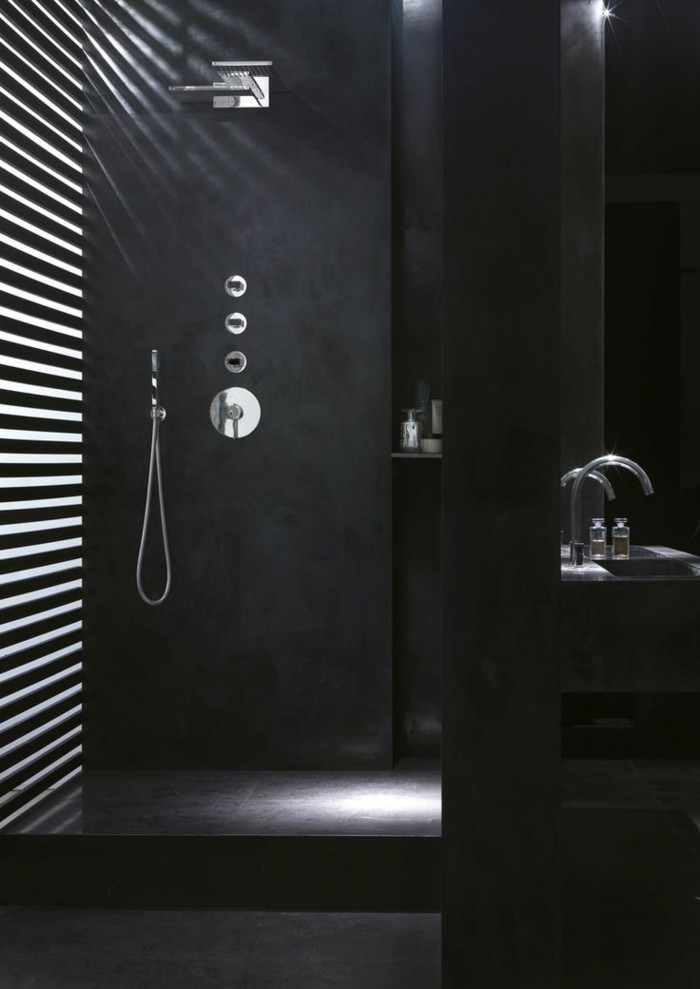 La beaut de la salle de bain noire en 44 images - Couleur pour la salle de bain ...
