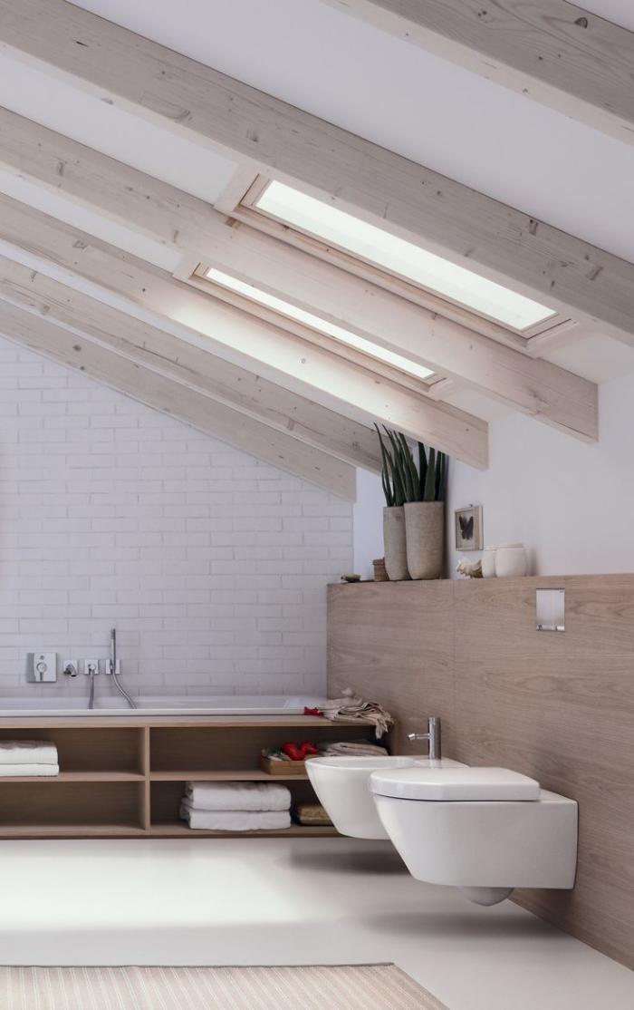 salle-de-bain-scandinave-déco-poutres-apparentes-salle-de-bain-sous-combles