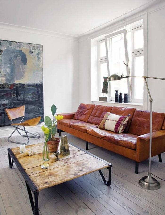 salle-de-séjour-déco-canapé-cuir-vintage-canape-cuir-vintage