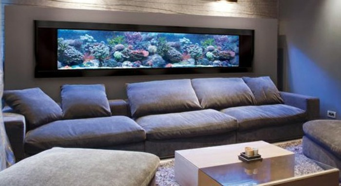 L aquarium mural en 41 images inspirantes for Meuble de salon pas cher