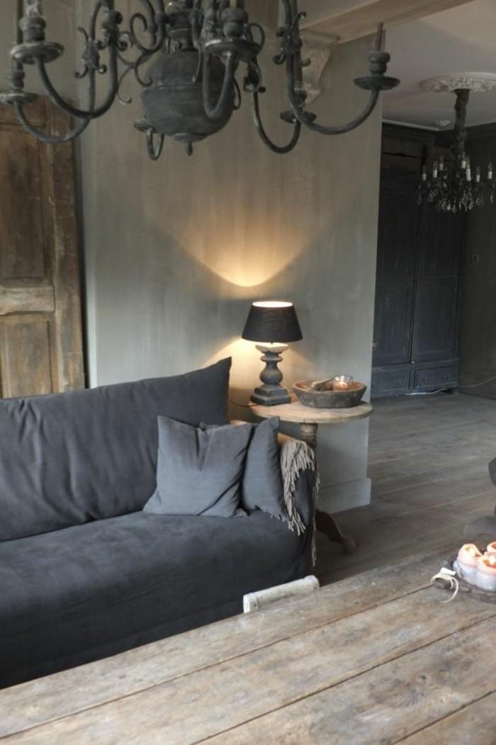 salon aveccanape gris anthracite sol en planchers en - Salon Design Sol Gris