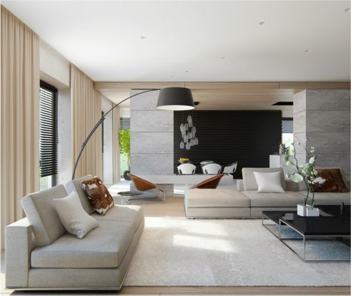 Couleur Pour Chambre Cocooning : salon-de-couleur-grège-tapis-beige-dans-la-salle-de-sejour-meubles …