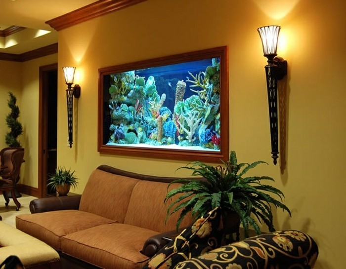 L aquarium mural en 41 images inspirantes for Aquarium meuble tv