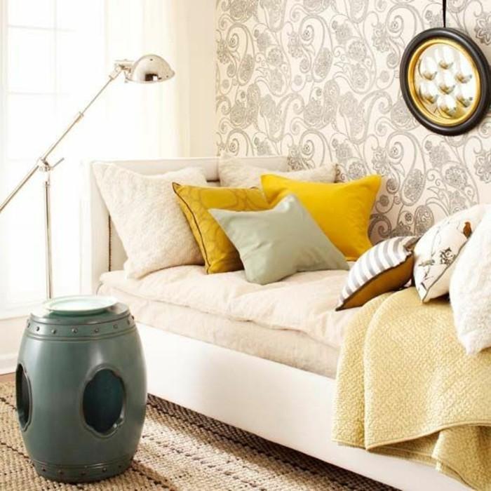 salon-moderne-avec-canape-cocooning-et-coussins-colorés-jaune-beige-dessin