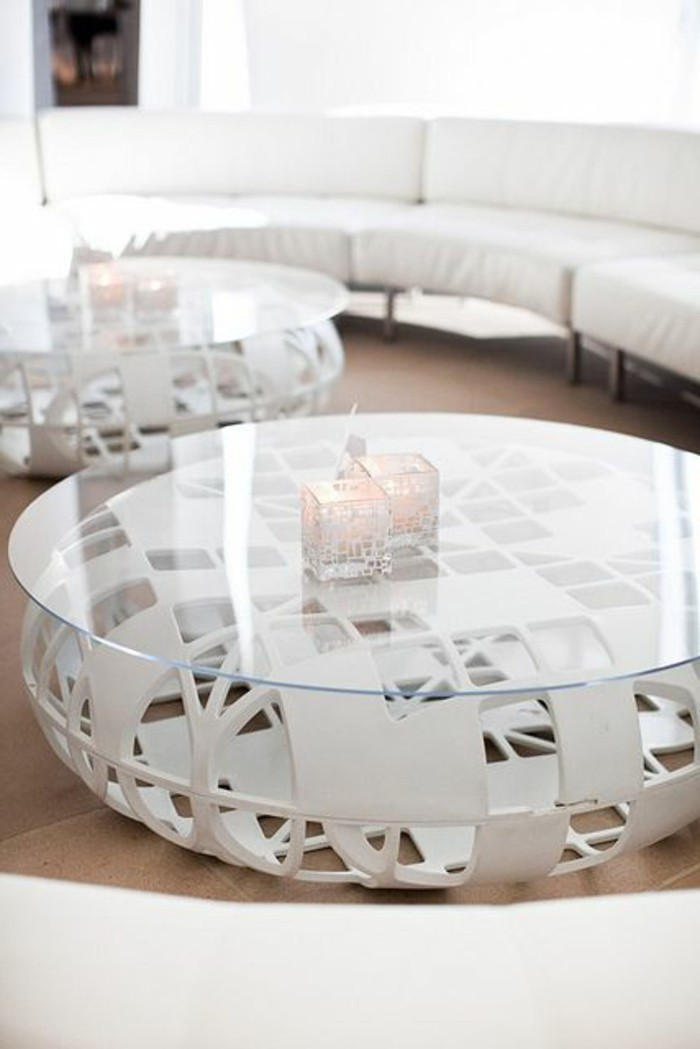 La table basse bois et verre en 43 photos d 39 int rieur - Table de salon blanc ...