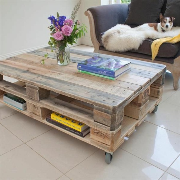 Table basse palette en bois - Table salon palette ...