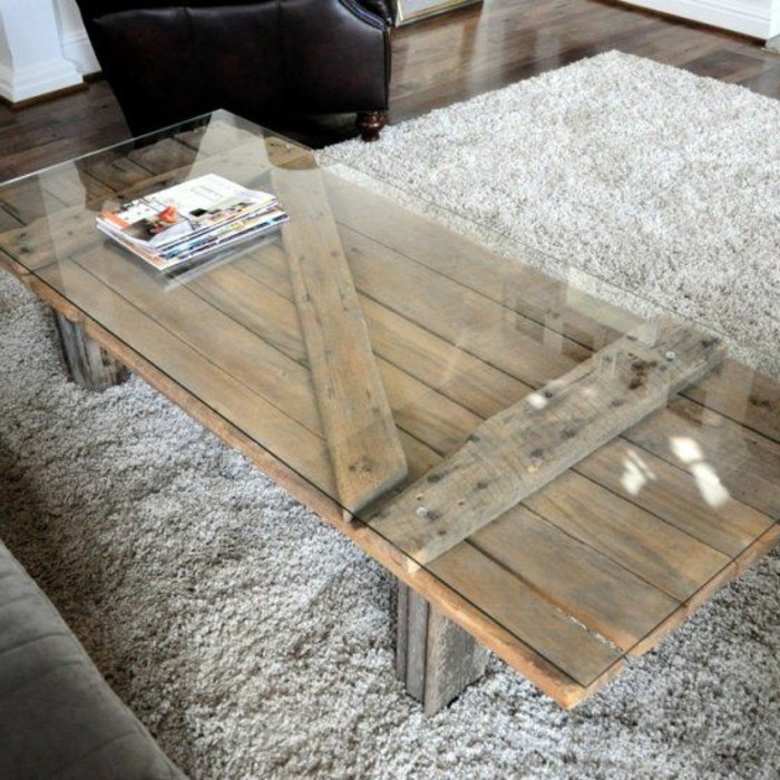 La table basse bois et verre en 43 photos d 39 int rieur - Tapis pour table basse ...
