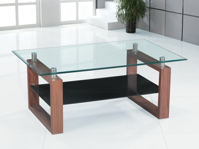 La table basse bois et verre en 43 photos d 39 int rieur for Ventouse pour table basse en verre