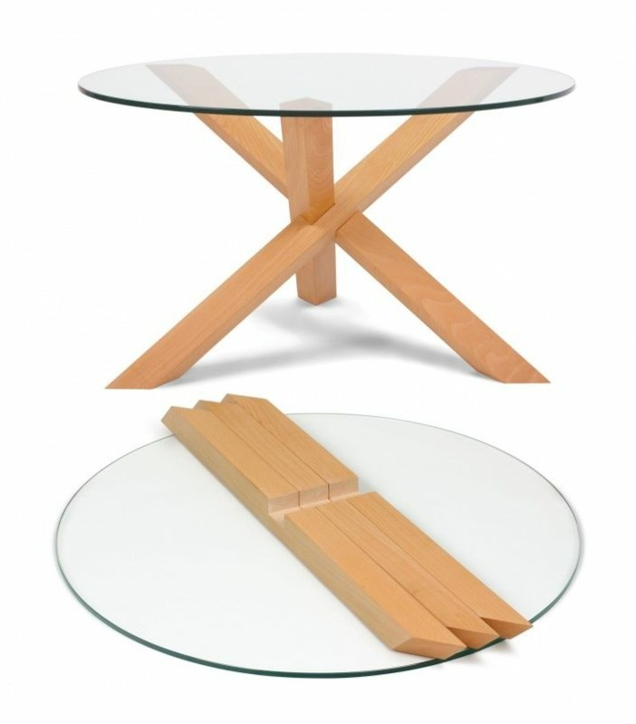 Fly table verre stunning charmant table salle a manger en for Table ronde verre fly