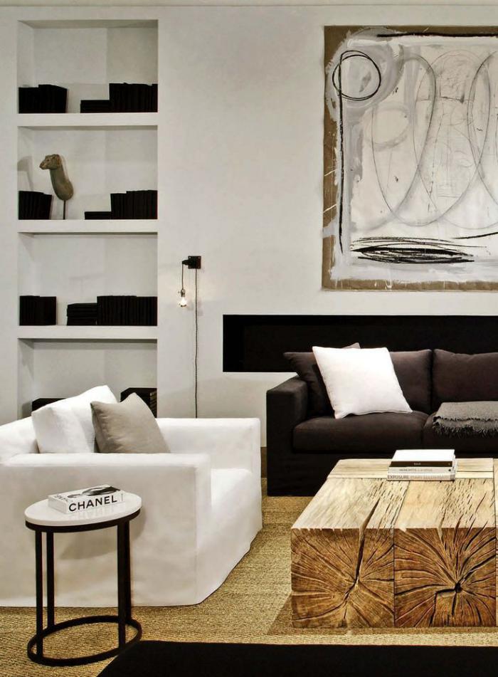 table basse en bois de grange. Black Bedroom Furniture Sets. Home Design Ideas
