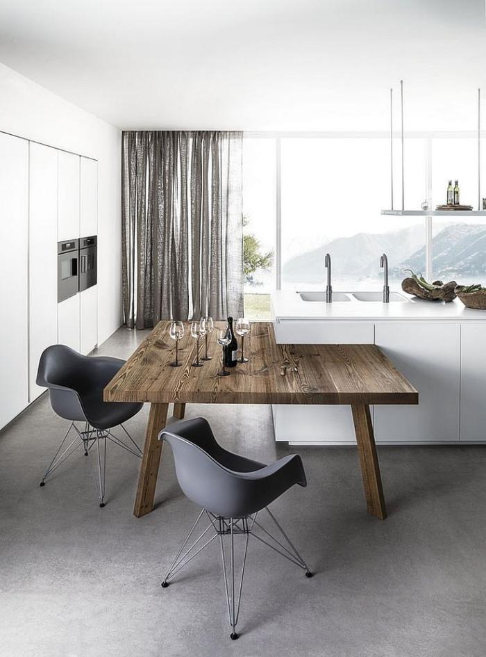 table-rustique-table-bois-pour-la-cuisine-blanche-design