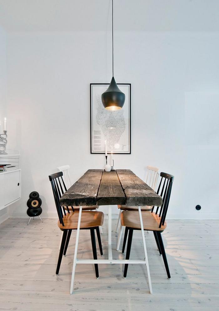 table-rustique-table-en-bois-récupéré-cuisine-scandinave