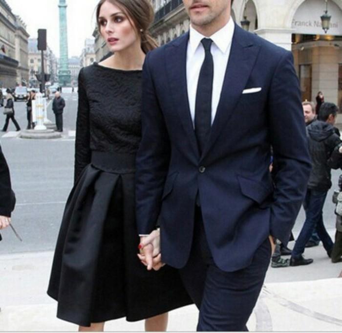 tenue-robe-noire-longue-chic-ou-petite-robe-noire-cool-couple-parfait-olivia-palermo