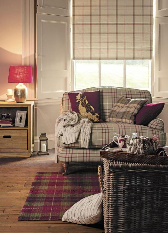 Id es d co avec le tissu cossais classique for Salon cottage
