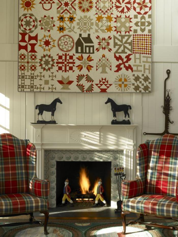 tissu-écossais-carrés-écossais-pour-les-fauteuils-près-de-la-cheminée