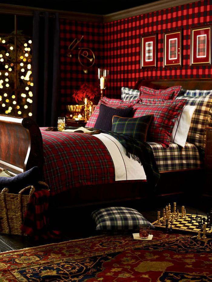 tissu-écossais-décorer-le-lit-et-les-murs-avec-un-carré-écossais