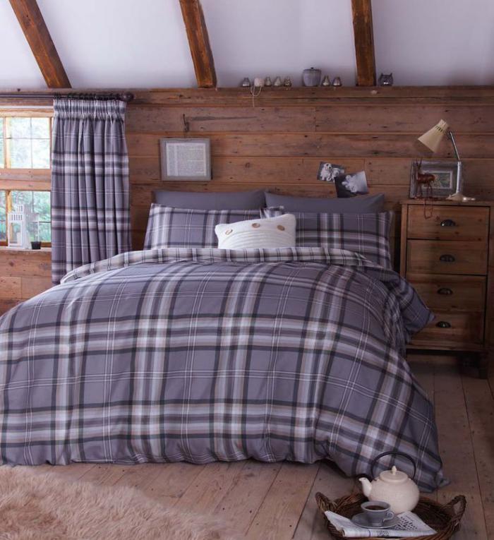 tissu-écossais-linge-de-lit-et-rideaux-tartan-gris