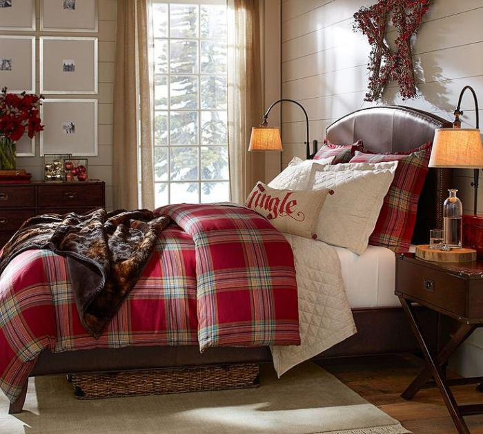 tissu-écossais-linge-de-lit-tartan-rouge-déco-de-chambre-à-coucher