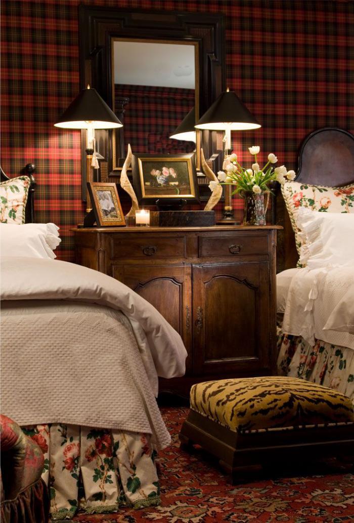 Id es d co avec le tissu cossais classique Tapisserie originale chambre