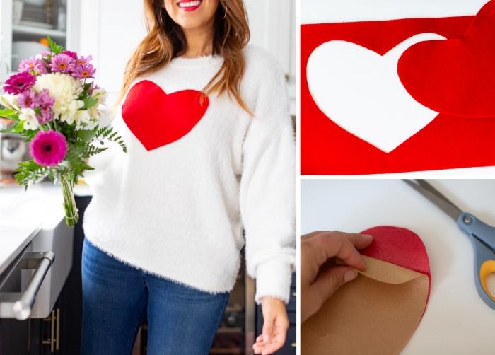 tutoriel cadeau personnalisé pour elle saint valentin surprise femme pull moelleux avec gros coeur rouge feutrine