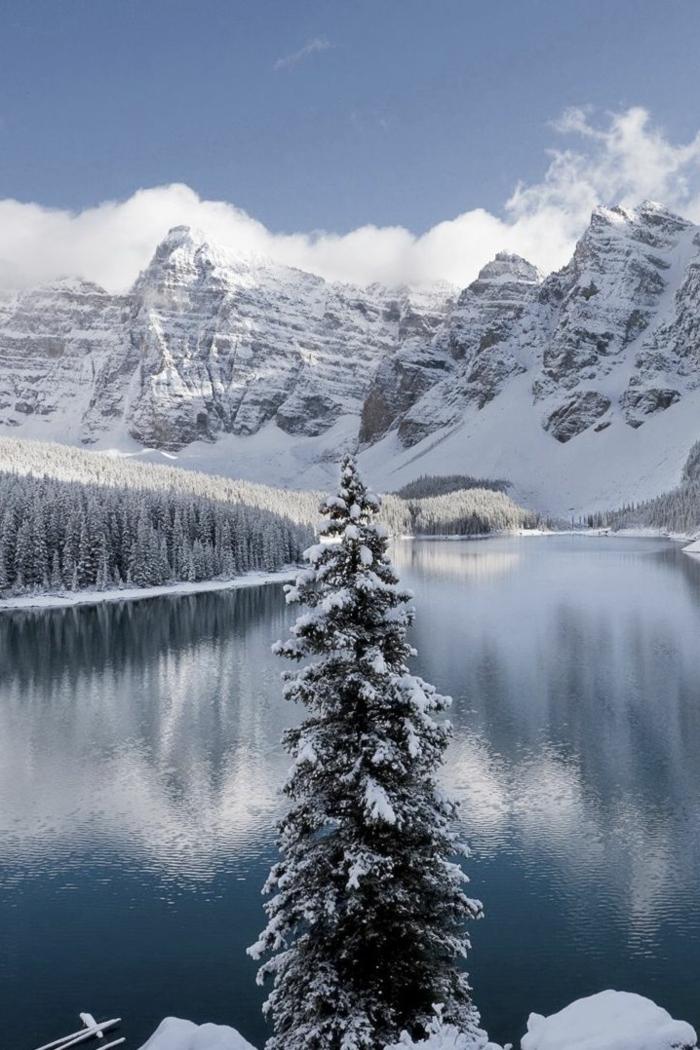 un-image-fond-d-ecran-gratuit-paysage-wallpaper-neige-lac