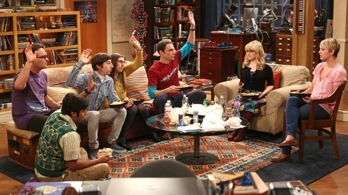 """""""The Junior Professor Solution"""" -- When Sheldon is forced to teach a class, Howard surprises everyone by taking it. Meanwhile, the tension between Penny and Bernadette gives Amy a chance to play both sides, on THE BIG BANG THEORY, Monday, Sept. 22, 2014 (8:30-9:00 PM, ET/PT), on the CBS Television Network. Pictured left to right: Johnny Galecki, Kunal Nayyar, Simon Helberg, Mayim Bialik, Jim Parsons, Melissa Rauch and Kaley Cuoco-Sweeting Photo: Michael Ansell/CBS ©2014 CBS Broadcasting, Inc. All Rights Reserved"""