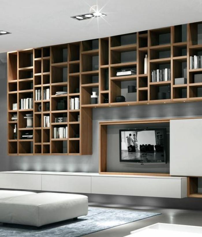 bibliotheque murale bois maison design. Black Bedroom Furniture Sets. Home Design Ideas