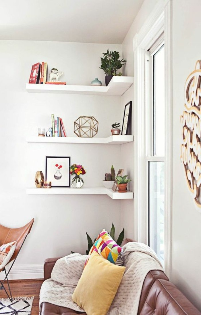 How to optimize space with corner shelves smart easy ideas for Decoration interieur salon de the