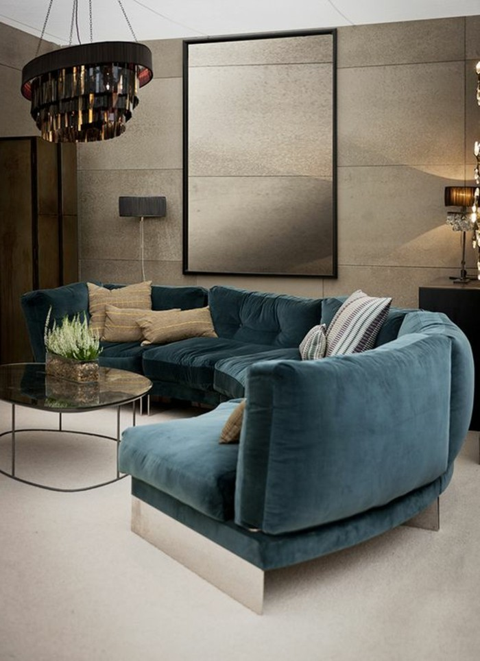 Salon moderne couleur bleu pr l vement d for Couleur de salon moderne