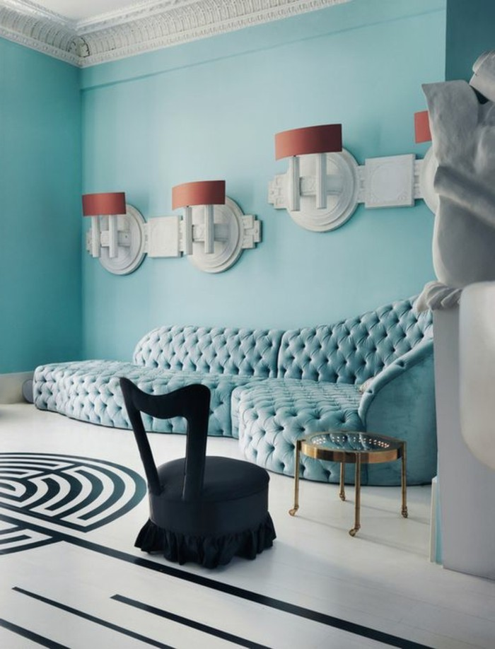 Le canap d 39 angle arrondi comment choisir la meilleure variante pour votre salon Salon noir blanc violet