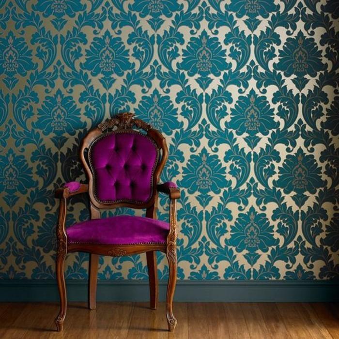 0-idees-papier-peint-pour-couloir-tapisserie-couloir-idee-deco-bleu-foncé-décoration-éntrée