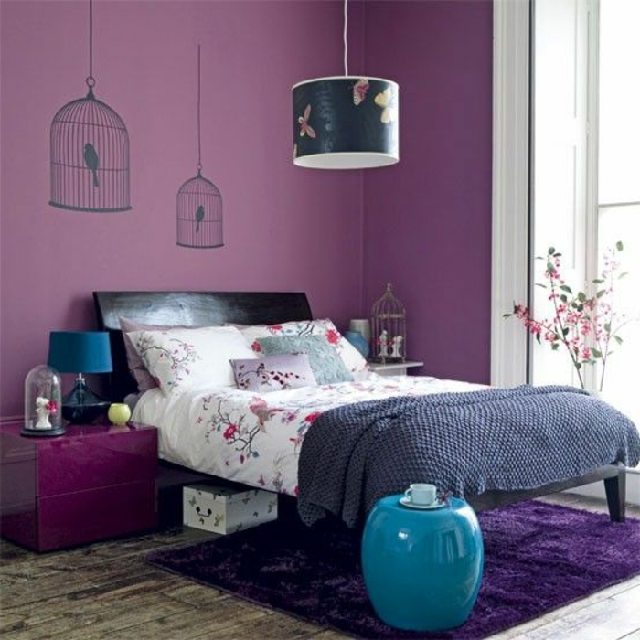 peinture violet chambre tv83 humatraffin. Black Bedroom Furniture Sets. Home Design Ideas