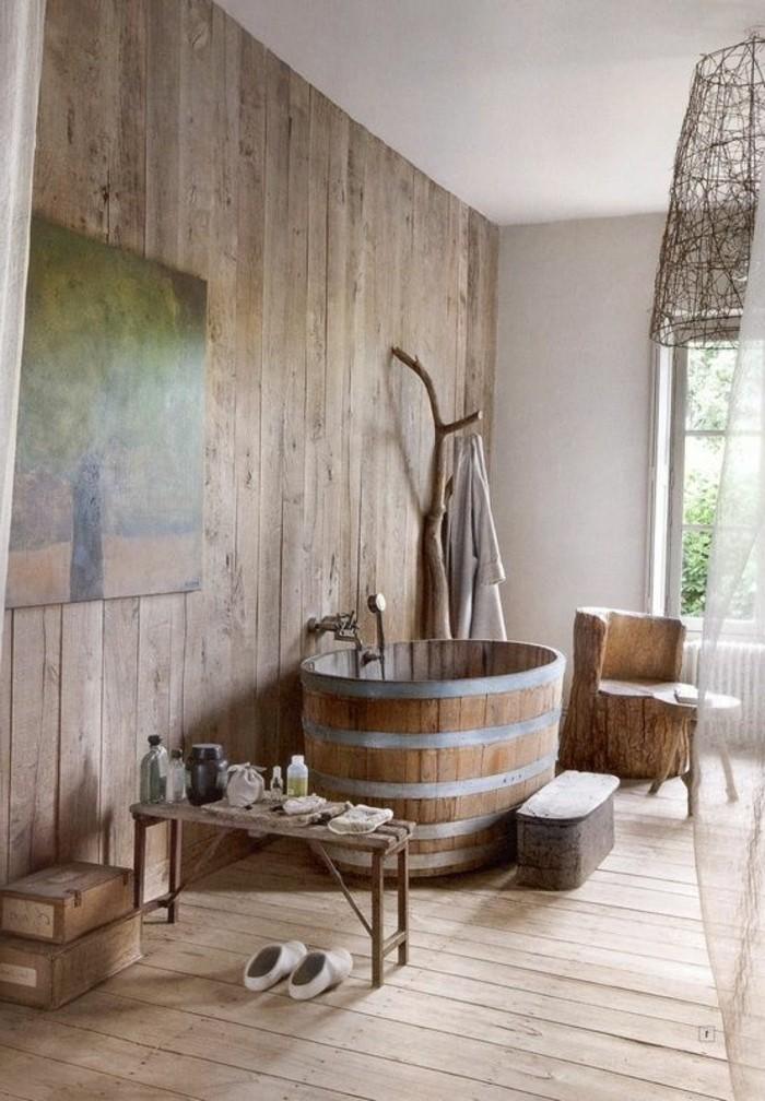 Salle de bain rustique bois for Porte serviette salle de bain conforama