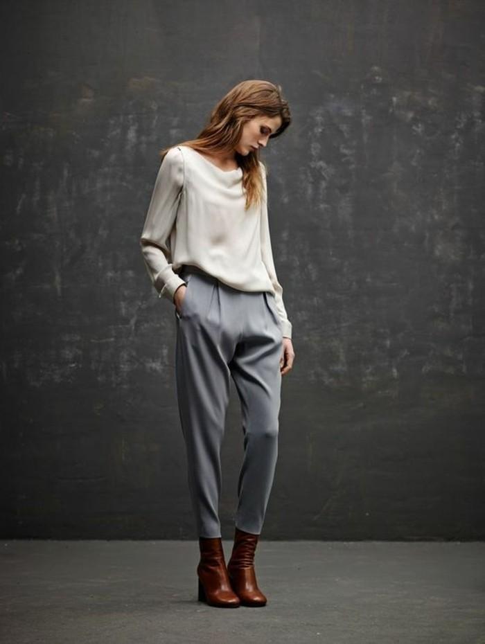 Comment porter le pantalon carotte nos conseils en photos for Que porter avec du gris