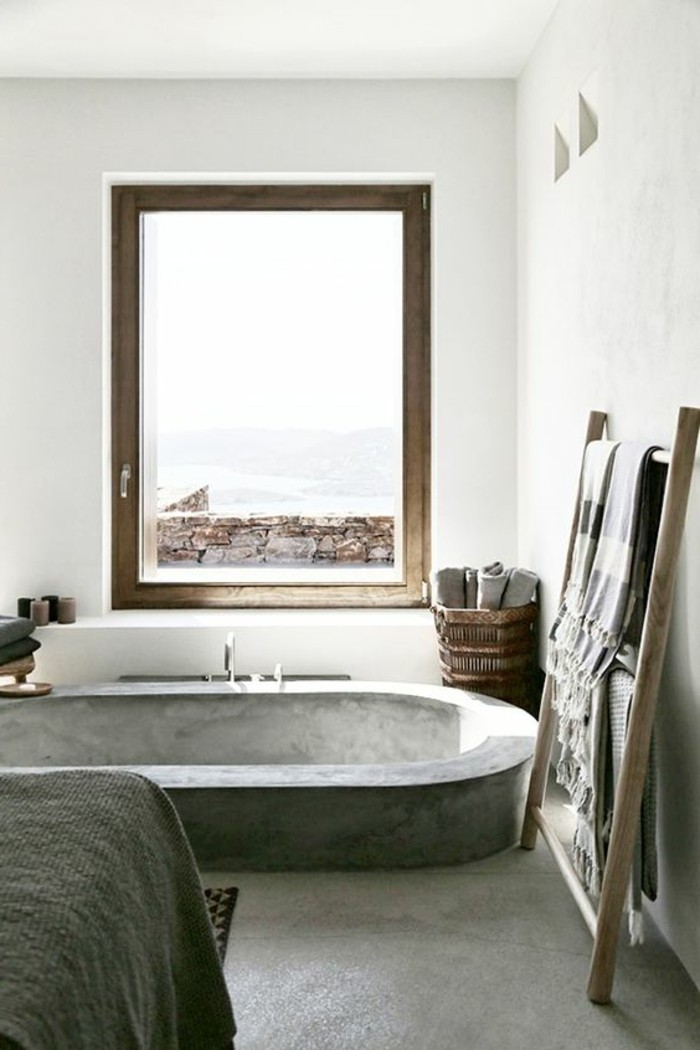 Porte serviette salle de bain en bois salle de bains for Meuble salle de bain porte basculante