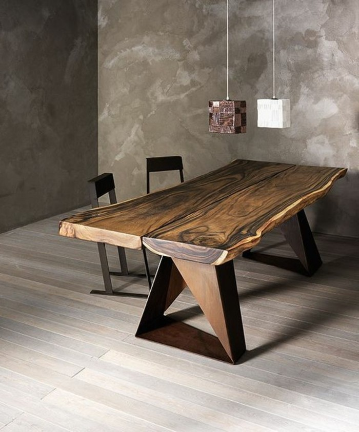 table salle a manger fer et bois maison design. Black Bedroom Furniture Sets. Home Design Ideas