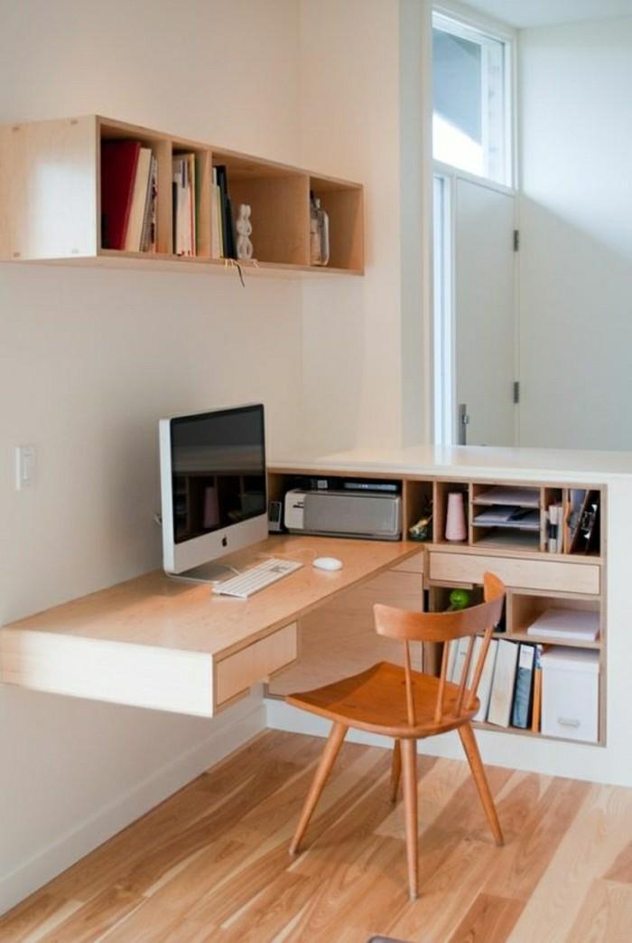 Bureau design bois clair for Bureau meuble design